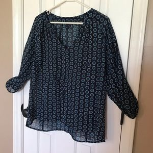 Size Large-  Gap Brand- Blue print sheer blouse.